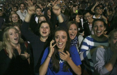 Students on Sproul Plaza cheer as victory for Obama in Ohio is announced. Victory in Ohio secured enough electoral votes to ensure a win nationally. (Anna Vignet/Senior Staff)