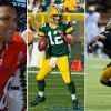 From right to left: Tony Gonzalez (Wikimedia Commons/Courtesy); Aaron Rodgers (Elvis Kennedy/Creative Commons/Courtesy); Shane Vareen (Evan Walbridge/File) .