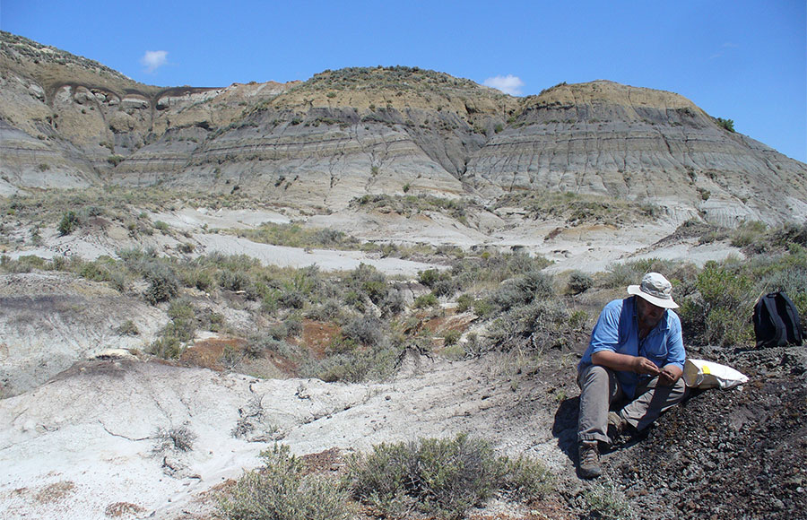 Bill Mitchell, a graduate student researcher at the excavation site.
