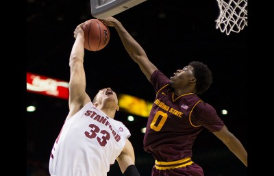 Arizona States Carrick Felix (19 points, 12 rebounds) and Stanfords Dwight Powell (23 and 9) both put up big numbers, but Felix and the Devils came out on top. (Michael Tao/Senior Staff)