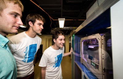 UC Berkeley alumni David Pastewka and Richard Berwick, along with current senior Will Drevno demonstrate The Dreambox, their 3-D printer that has received massive interest from individuals and universities around the globe.