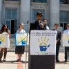 ASUC External Affairs Vice President Shahryar Abbasi spoke at an Earth Day rally in favor of an oil severance tax initiative.