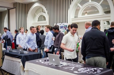A startup expo Thursday featured more than two dozen companies, a speaker panel and a pitch competition. The event was organized by the campus business fraternity Alpha Epsilon Zeta.