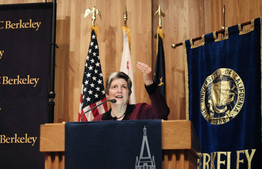 Former Homeland Security Secretary and next UC President Janet Napolitano spoke to UC Berkeley students on April 25, 2011 on national cyberspace security.