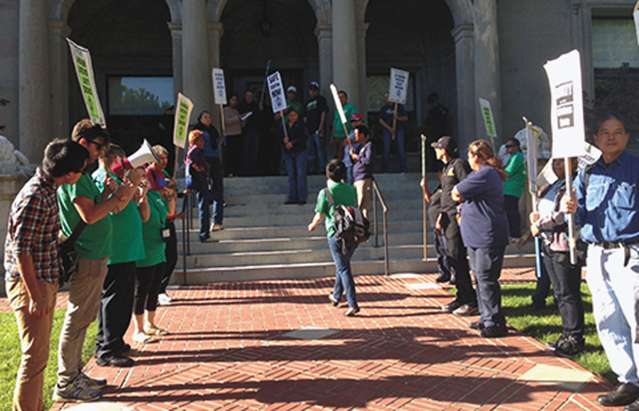 About 40 protesters marched from Tolman Hall to the UC Berkeley chancellor's office early Wednesday evening.