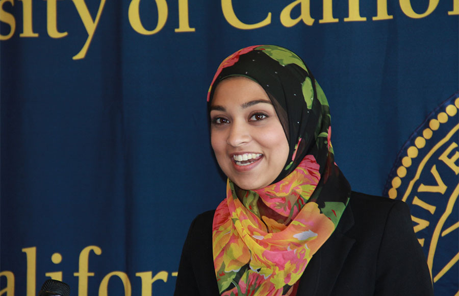 UC Berkeley senior Sadia Saifuddin was appointed student regent-designate at the UC Regents meeting Wednesday.