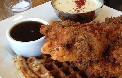 Fried chicken and waffle at 900 Grayson. Image by Michael Tao/staff.