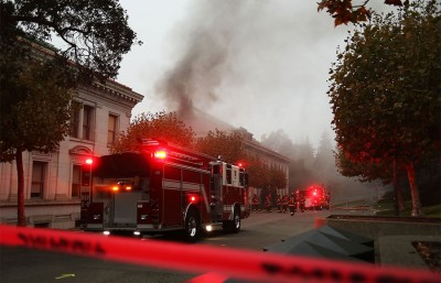 The fire department responds to the explosion on campus on Monday. UC Berkeley officials believe the  incident may be linked to the theft of high-voltage copper wiring, which has been a growing trend in the city
