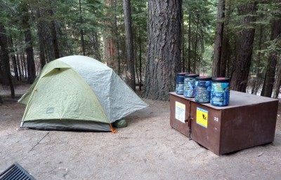 Locking up the food from bears (and squirrels) in cans and a campground locker.