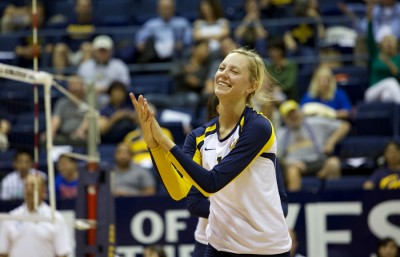 Middle backer Lillian Schonewise celebrates a play during Thursday's game. Cal volleyball beat Cal Poly 3-0.