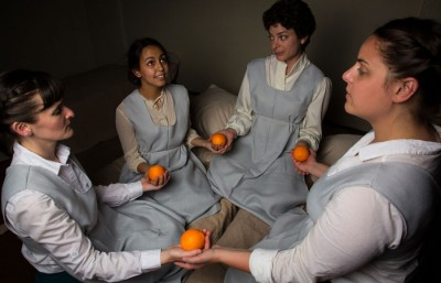 Elissa Beth Stebbins, Arisa Bega, Carlye Pollack and Abigail Edber co-star in 'What Every Girl Should Know,' a play about girls who dream of sexual freedom in their oppressive world.