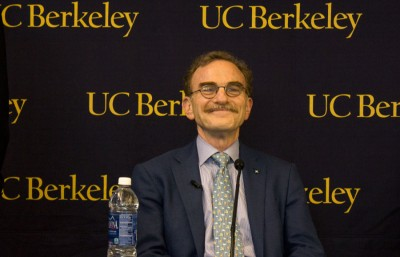Randy Schekman, UC Berkeley's newest Nobel Laureate, speaks at a press conference Oct. 7.