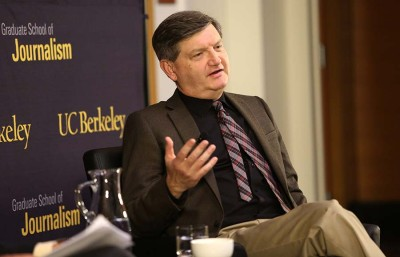 "New York Times reporter James Risen speaks in an event titled ""Prosecuting the Press"" at Stanley Hall.  Risen faces incarceration for refusing to disclose his sources."