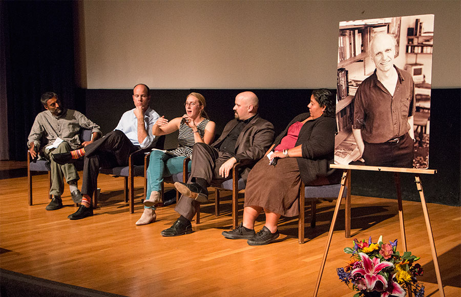Gopal Dayaneni, Michael Brune, May Boeve, Sharon Lungo and Phil Radford(left to right) discuss issues relating to climate change at the annual Mario Savio Memorial Lecture which was on November 12, 2013.
