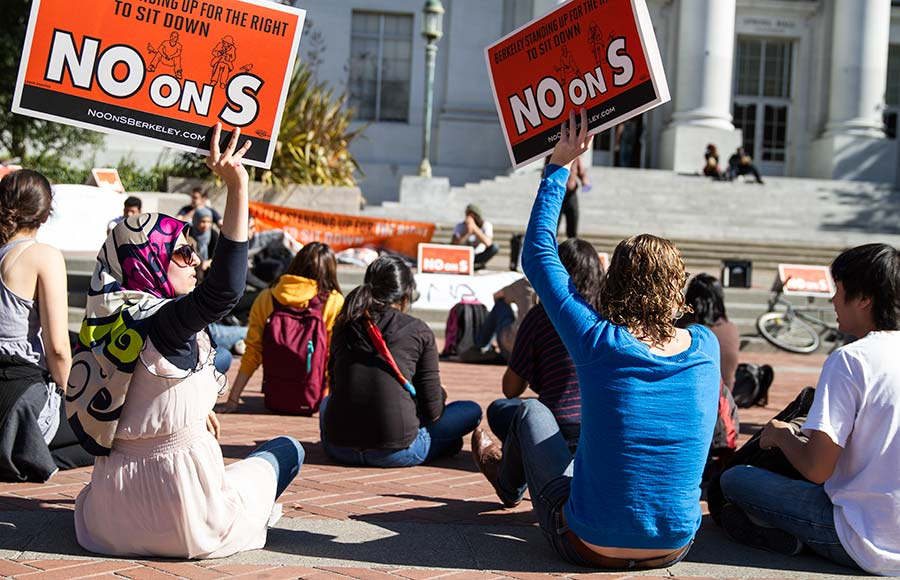 Students protest Measure S on Nov. 2, 2012, at a rally on Upper Sproul Plaza. After the failure of the measure, which would have  prohibited sitting on commercial sidewalks, Berkeley City Council has looked into alternative programs to decrease homelessness.