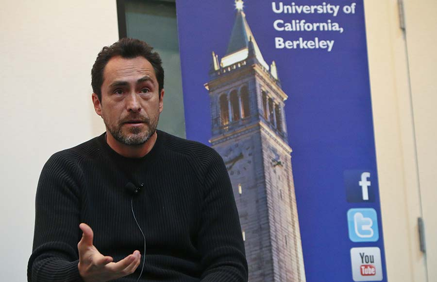 Bichir lectures before students in a geography course about his  experiences as a Mexican actor and about immigration reform.