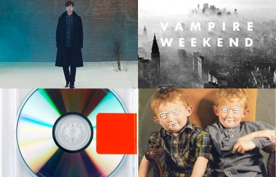 Artists in the top 10 include James Blake, Vampire Weekend, Kanye West and Disclosure. (Courtesy credit from top left: ATLAS/A & M/Polydor Records, XL Recordings, PMR/Island Records, Roc-a-Fella/Def Jam Records).