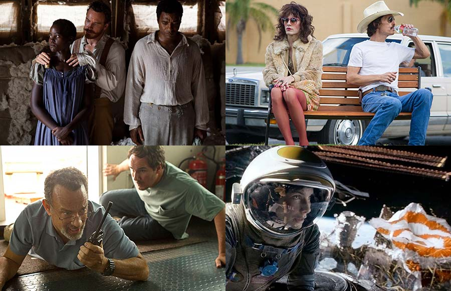 The top ten films of 2013 include 12 Years a Slave, the Dallas Buyer's Club, Captain Phillips and Gravity. (Courtesy credits from top left: Fox Searchlight Pictures, Focus Features, Warner Bros. Entertainment Inc., Sony Pictures).