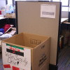 A box outside of the Muslim Student Association's   cubicle in Hearst Gym takes donations for refugees.