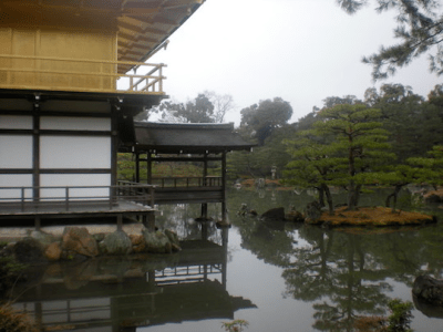 Golden pavilion at Kinkaku-ji temple in Kyoto.