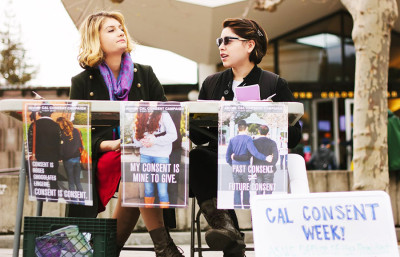 Students table on Sproul Plaza on Monday to promote workshops and activities for Cal Consent Week, launched by the ASUC Office of the President.