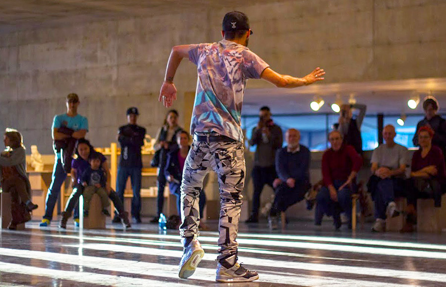 A dancer takes part in the Berkeley Art Museum and Pacific Film Archive's dance tournament Friday, hosted by Johnny 5 of the Oakland-based dance crew TurF FeinZ. It culminated in a dance-off.