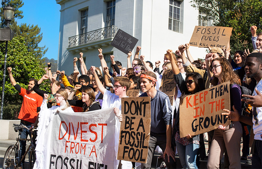 Student campaigns such as Fossil Free Cal, shown here at a protest on Sproul Plaza in October 2013, have been urging divestment from fossil fuel-related companies by the university. The UC Task Force on Sustainable Investing chose not to recommend that the University of California divest funds from fossil fuel companies, instead advocating for sustainable investment.