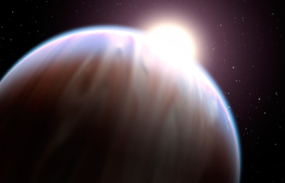 This artist's illustration depicts the extrasolar planet HD 189733b with its parent star peeking above its top edge.