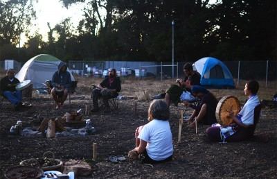 Members and supporters of the Indigenous Land Action Committee occupy the Gill Tract in protest of its  development. They believe the land is sacred and belongs to the Ohlone tribe.
