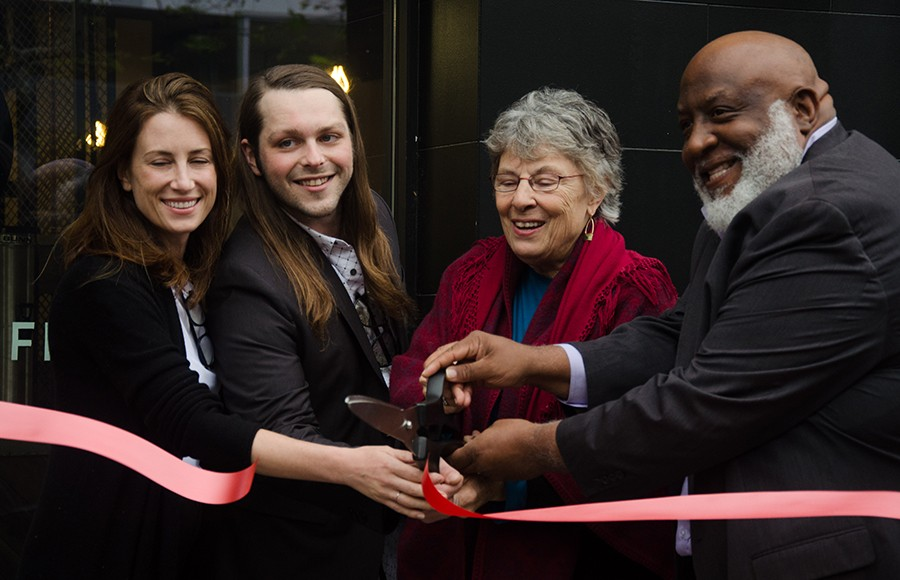 Berkeley Chamber of Commerce co-CEO Kirsten MacDonald, Algorithm owner Aaron Hubbard and Councilmembers Linda Maio and Darryl Moore pose at Algorithm's ribbon cutting ceremony.