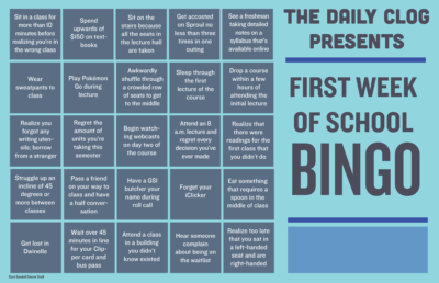 first week of school bingo
