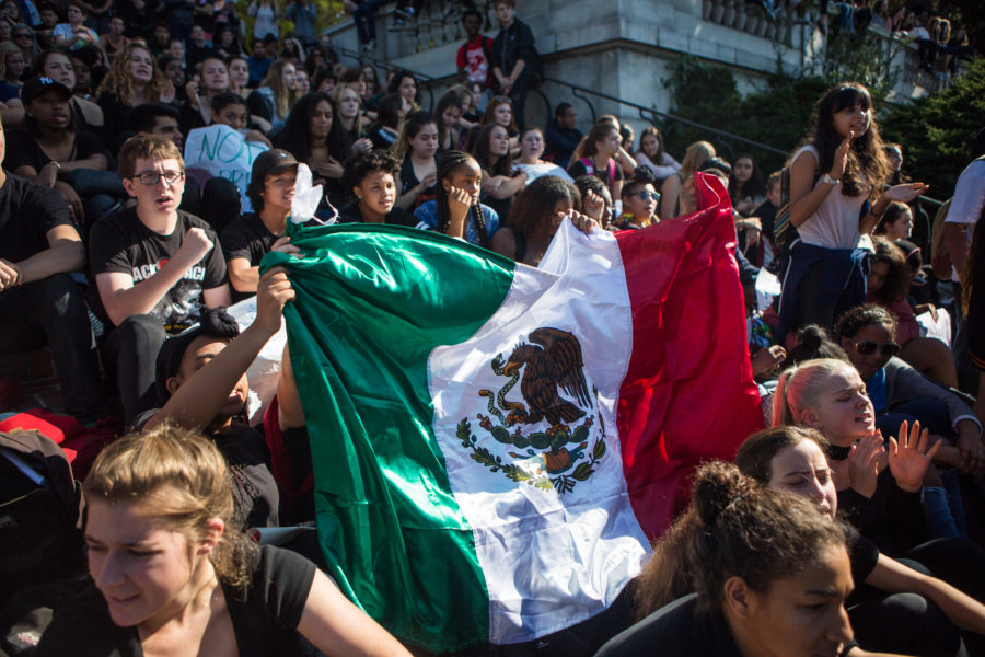 "Berkeley High School students wave a Mexican flag while chanting ""not our president"" in opposition of Donald Trump's election as US President on Wednesday, November 9, 2016 in Berkeley, Calif. (Rachael Garner/Senior Staff)"