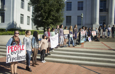 More than 50 demonstrators gather on Sproul Plaza on Nov. 2 in solidarity with protesters opposing the Dakota Access Pipeline.