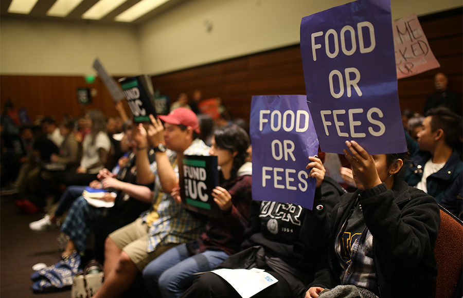 Students from across the UC system travel to the UC Board of Regents meeting at UCSF Mission Bay in November to protest a potential rise in tuition after a two-year freeze ends at the start of the 2017-18 school year. The university announced its proposal of a $282 tuition hike Wednesday.