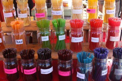Lots of little kids come for the flavored honey sticks.