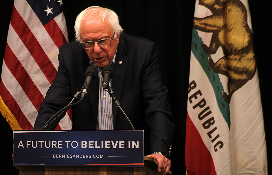 "Bernie Sanders speaks at a press conference on campus June 3. On Dec. 2, Sanders spoke at Zellerbach Hall while promoting his new book, ""Our Revolution."""