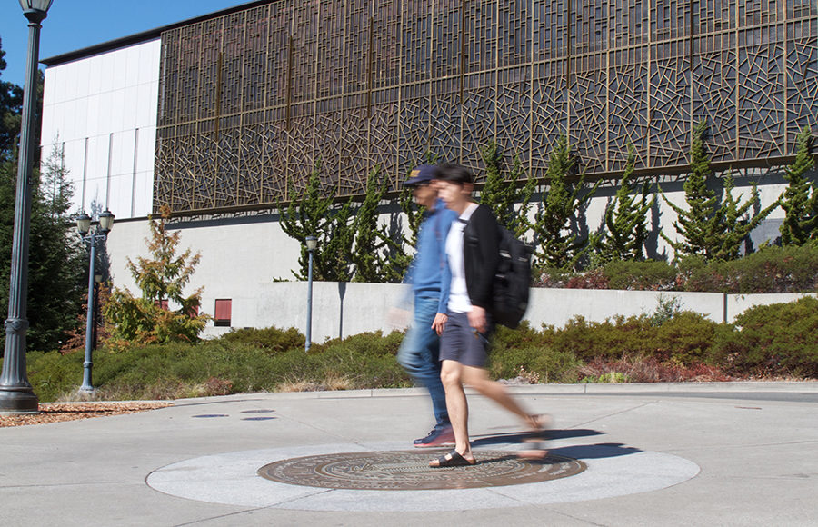 Students walking past C.V. Starr East Asian Library