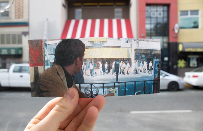 "An image of ""The Graduate"" held up in front of Moe's Bookstore in Berkeley"
