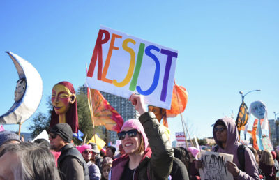 Protestors gather in at the Women's March in Oakland on Jan. 20.