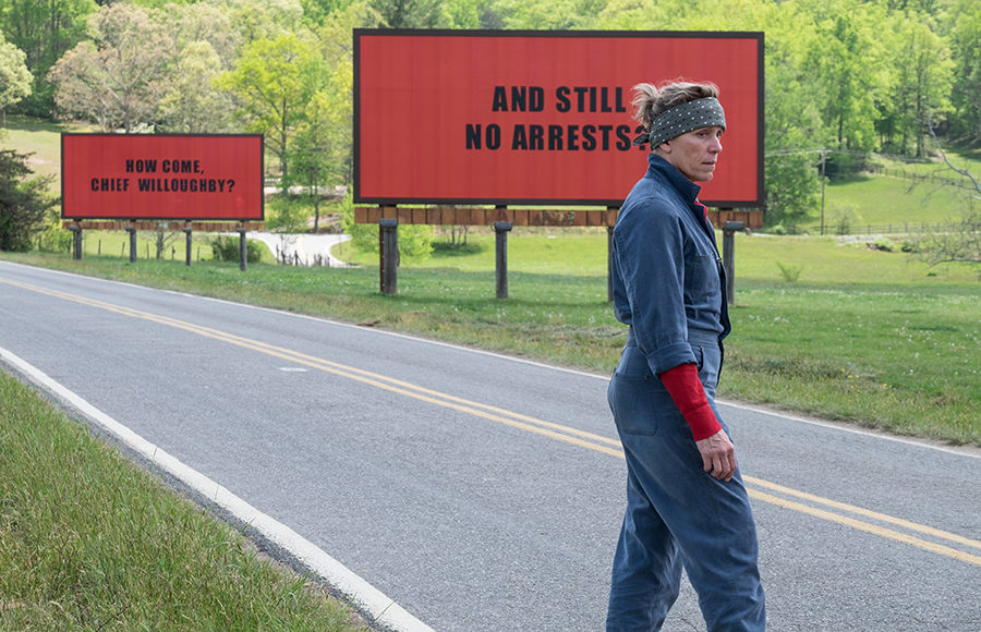 "Frances McDormand as ""Mildred Hayes"" in THREE BILLBOARDS OUTSIDE EBBING, MISSOURI. Photo by Merrick Morton, courtesy of Fox Searchlight Pictures."