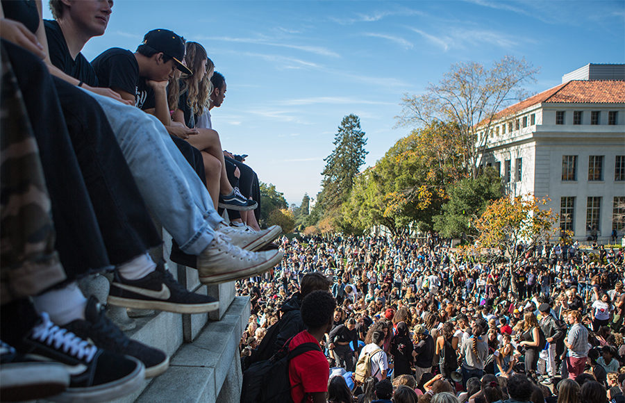 Hundreds of Berkeley High School and UC Berkeley students gather beneath UC Berkeley's Campanile on Wednesday, November 9, 2016 in protest of Donald Trump's election as US President. Berkeley, Calif. (Rachael Garner/Senior Staff)