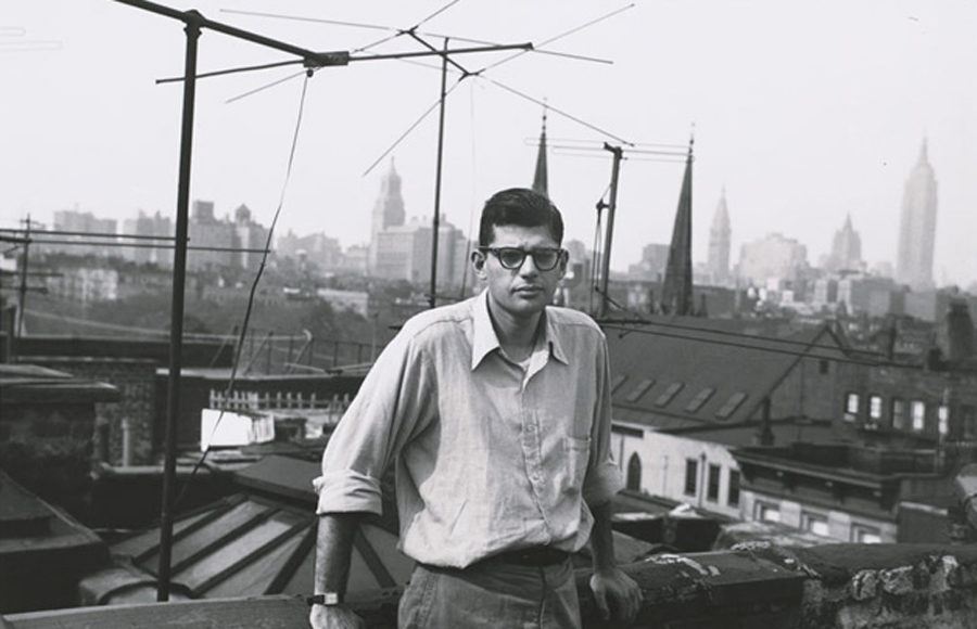 Allen Ginsberg stands on his rooftop in New York City in the 1950s.