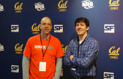 NRG Esports and SF Shock CEO Andy Miller (left) with Cal Esports President Kevin Ponn (right).