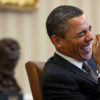 President Barack Obama laughs during a meeting in the Oval Office, Jan. 24, 2011. (Official White House Photo by Pete Souza)  This official White House photograph is being made available only for publication by news organizations and/or for personal use printing by the subject(s) of the photograph. The photograph may not be manipulated in any way and may not be used in commercial or political materials, advertisements, emails, products, promotions that in any way suggests approval or endorsement of the President, the First Family, or the White House.