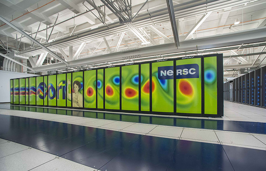 NERSC Cray Cori supercomputer at Wang Hall - graphic panels installation - November 09, 2015.