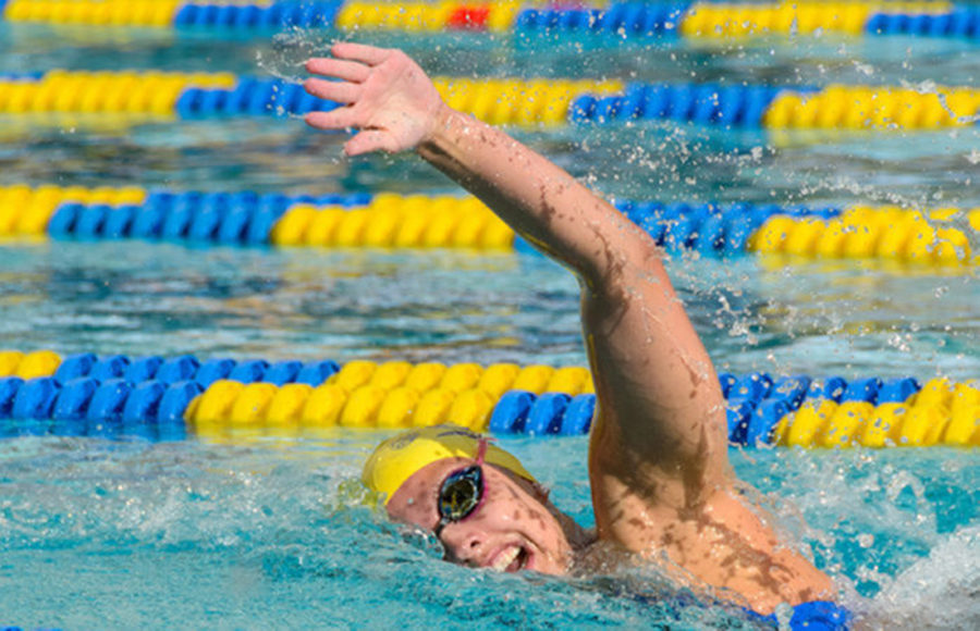 A swimmer gasps for air and lifts their left arms to stroke their way to the finish.