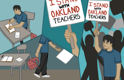 "Panels showing person studying in school and then protesting with sign that reads ""I stand with Oakland teachers"""