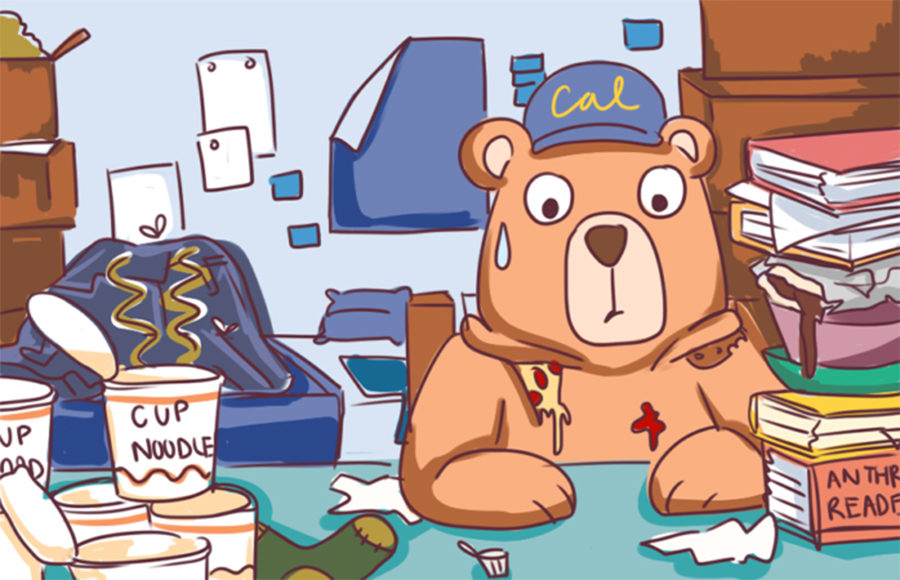 An illustration of a bear sitting at a messy desk in a messy room filled with clothes and empty food containers.