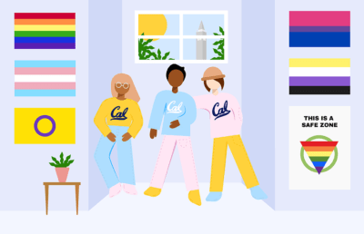 Three Cal students in a room with LGBTQ+ flags on the walls
