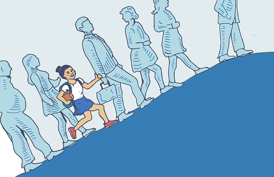 A line of people walking uphill with a girl carrying a backpack running among them